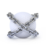 Chained golf ball