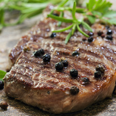 Grilled Steak with Peppercorns