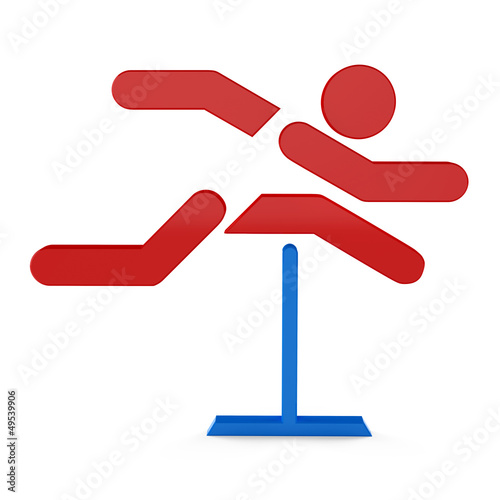 3D sport icon set... 3D hurdle race symbol
