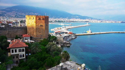 Kizil Kule - Red Tower, the symbol of Alanya, Turkey