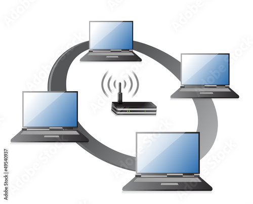 WIFI / WLAN Laptops connection Concept