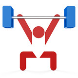 3D sport icon set... 3D barbell symbol...