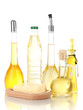 Different types of oil isolated on white