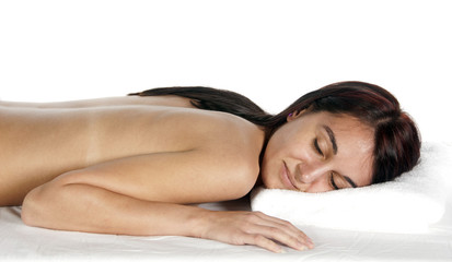Relaxing spa therapy eyes closed young woman
