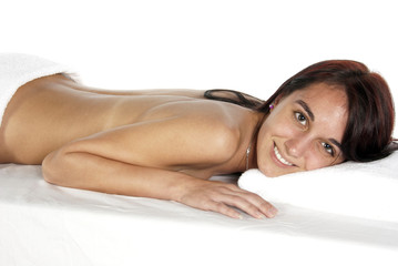 Relaxing spa therapy for young woman