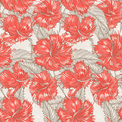 beige pattern with hibiscus