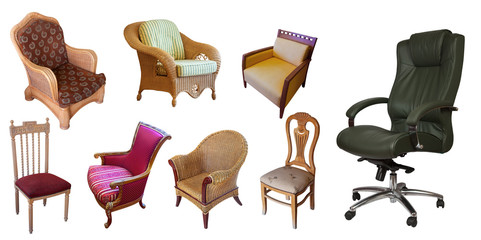 Different set of chairs. Isolated over white