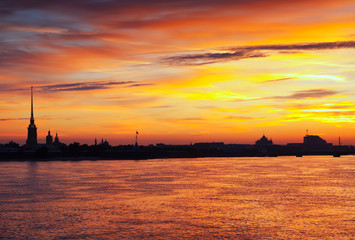 View of St. Petersburg in summer dawn
