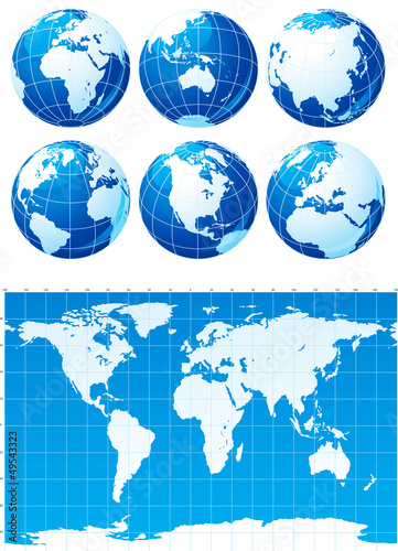 Vector set of  World map  and six globes