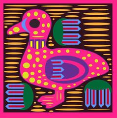 Mola Duck -textile folk art -patchwork  kuna vector
