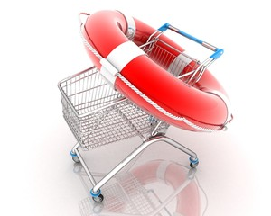 Shopping cart with lifebelt.(3-D simulation, 3-D visualization)