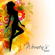 Happy Women's Day greeting card or background with silhouette of