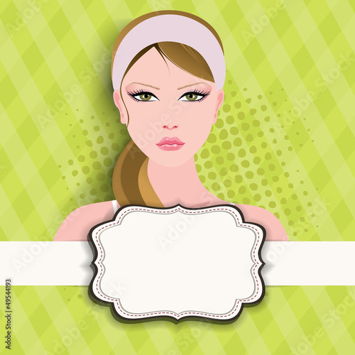 Happy Women's Day greeting card or background with portrait of a