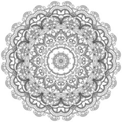 Floral lace circle. Ornamental mandala