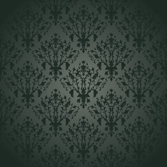 Damask seamless pattern on  gradient background. Vintage design
