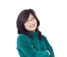 Confident smiling Asian female in green shirt, arms crossed