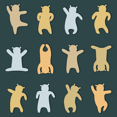 Set of silhouettes of bear