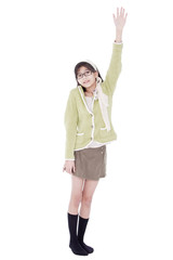 Girl in green sweater and glasses asking a question