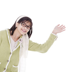 Girl in green sweater waving a warm welcome, isolated