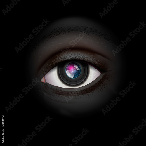 Background with camera lens eye, vector Eps10 illustration.
