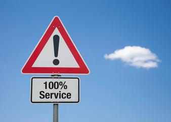 Achtung-Schild mit Wolke 100% SERVICE