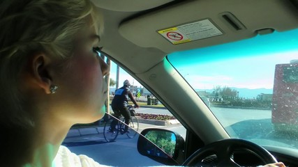 Blond Woman is Driving
