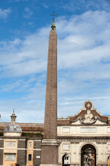 Rome -  Egyptian obelisk of Ramesses in Piazza del Popolo
