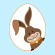 Easter Bunny Eggframe Dots Blue