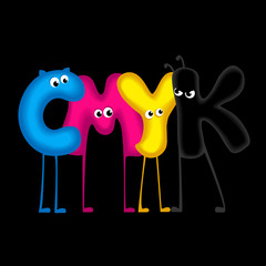 CMYK - funny letters, black background
