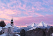 Watzmann at sunset with church, Berchtesgaden, Germany Alps