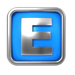 Silver Letter in Frame, on Blue Background.