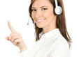 Customer support phone operator in headset pointing