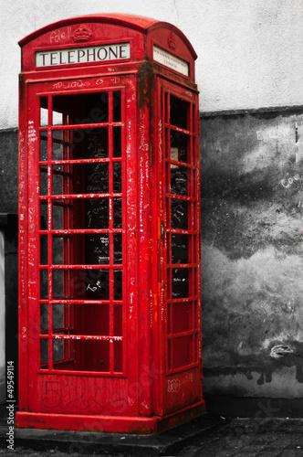 Fotobehang Rood, zwart, wit cabine téléphonique anglaise
