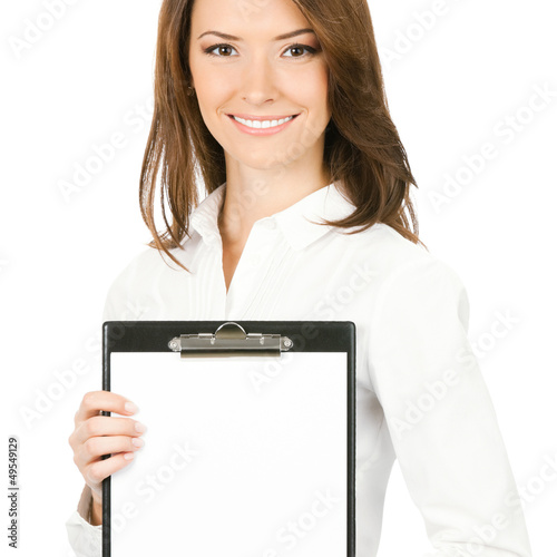 Businesswoman with clipboard, isolated