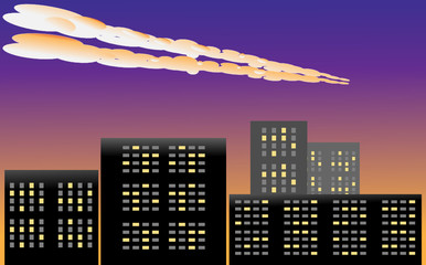 meteor in the atmosphere above the city