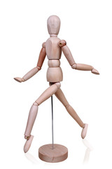gay running wooden figure