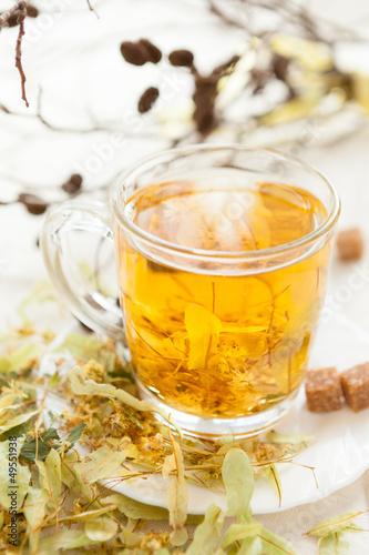 hot tea flavored with lime flowers