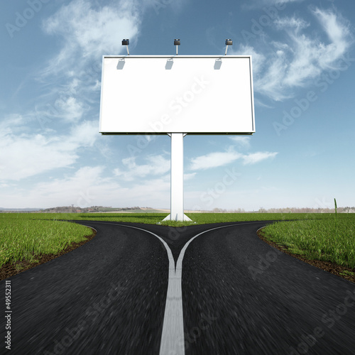 Blank highway and road sign with fork