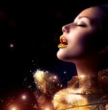 Fototapete Gold - Golden - Frau