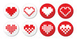 Pixeleted red heart icons set - love, dating online concept
