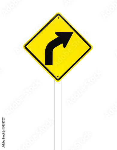 Curved Road Traffic Sign on a white background.