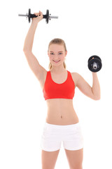 beautiful woman with dumbbells over white
