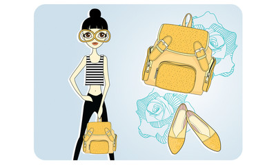 Fashion Model with Yellow Backpack and shoes collection