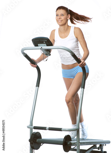woman on a running simulator