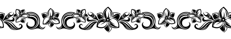 Horizontal seamless vignette with flowers. Vector illustration.