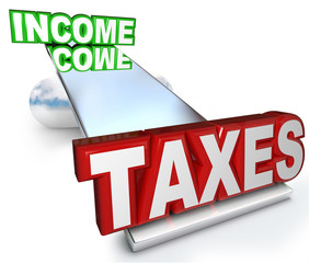 Income Taxes Scale Balance Figuring Refund Deductions