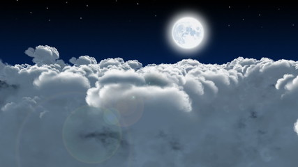 Night flight through cumulus clouds. 3D animation.