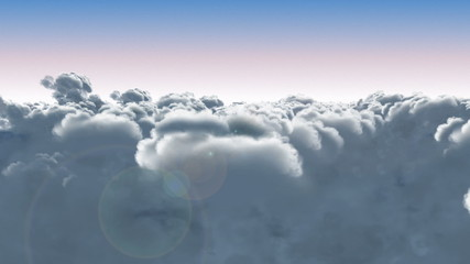 flying through the clouds. 3D animation.