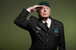 US military general wearing beret. Salutation. Studio portrait.