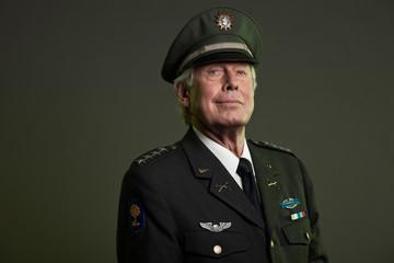 US military general in uniform. Studio portrait.